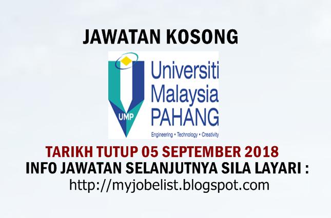 Jawatan Kosong Universiti Malaysia Pahang (UMP) September 2018