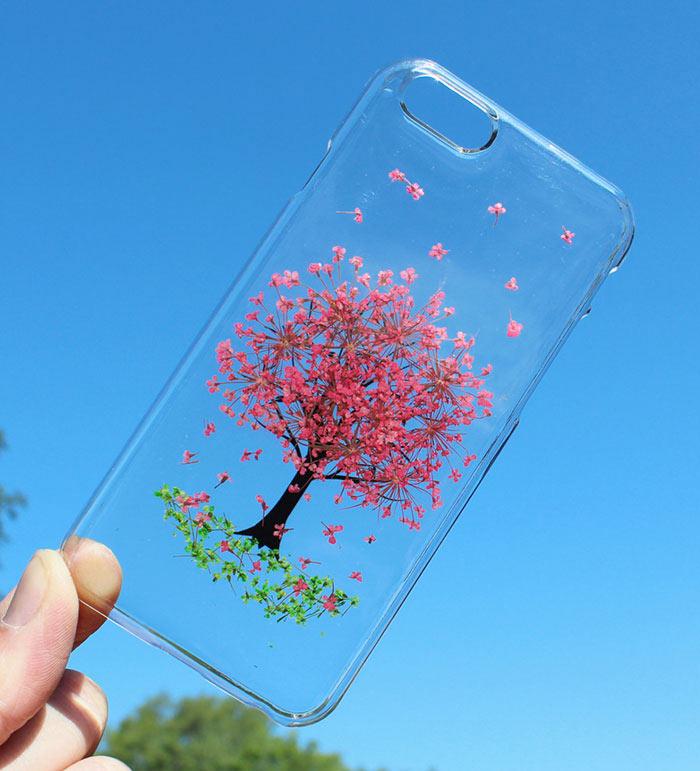 estuches con flores reales para teléfonos móviles de houseofblings