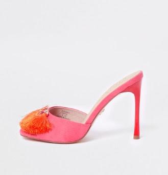 River Island Pink tassel heeled mules