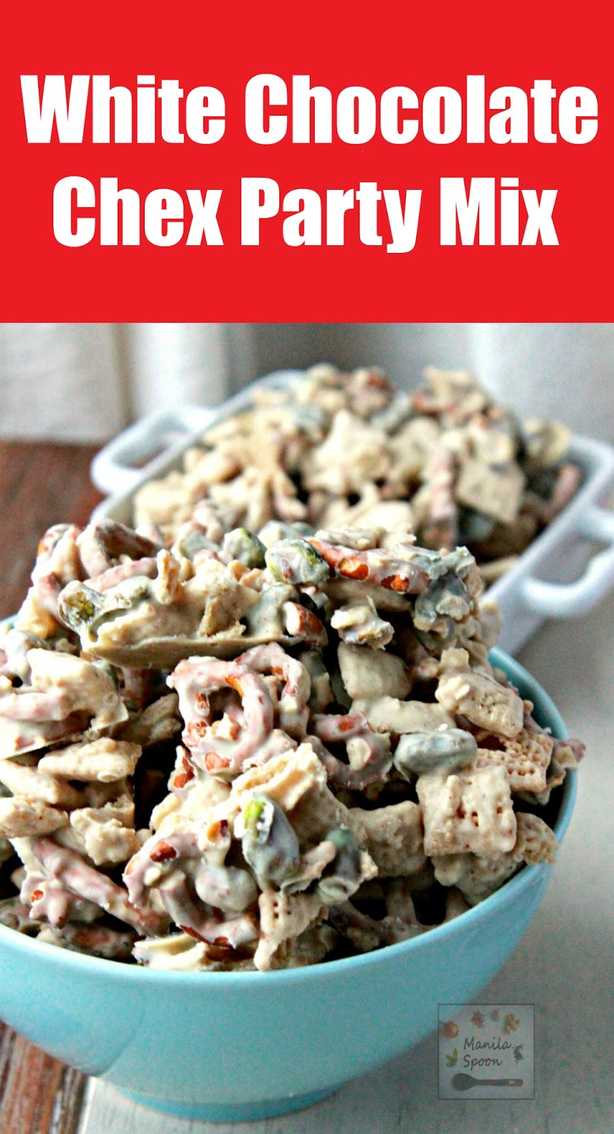 So deliciously good and highly addictive!! Chex cereal, chopped pretzels and pistachios smothered in white chocolate and subtly spiced with Nutmeg or Cinnamon - this White Chocolate Chex Party Mix is the ultimate party snack! NO BAKE!
