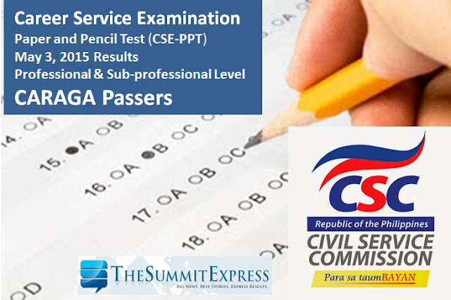 May 2015 Civil Service Exam Results (CSE-PPT) CARAGA Passers