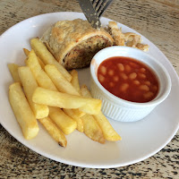 Child's portion of sausage roll, chips and beans