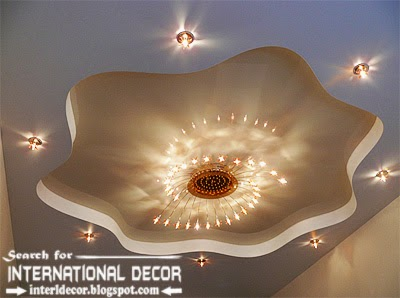 Modern Stretch Ceiling Designs With Chandeliers And Spot