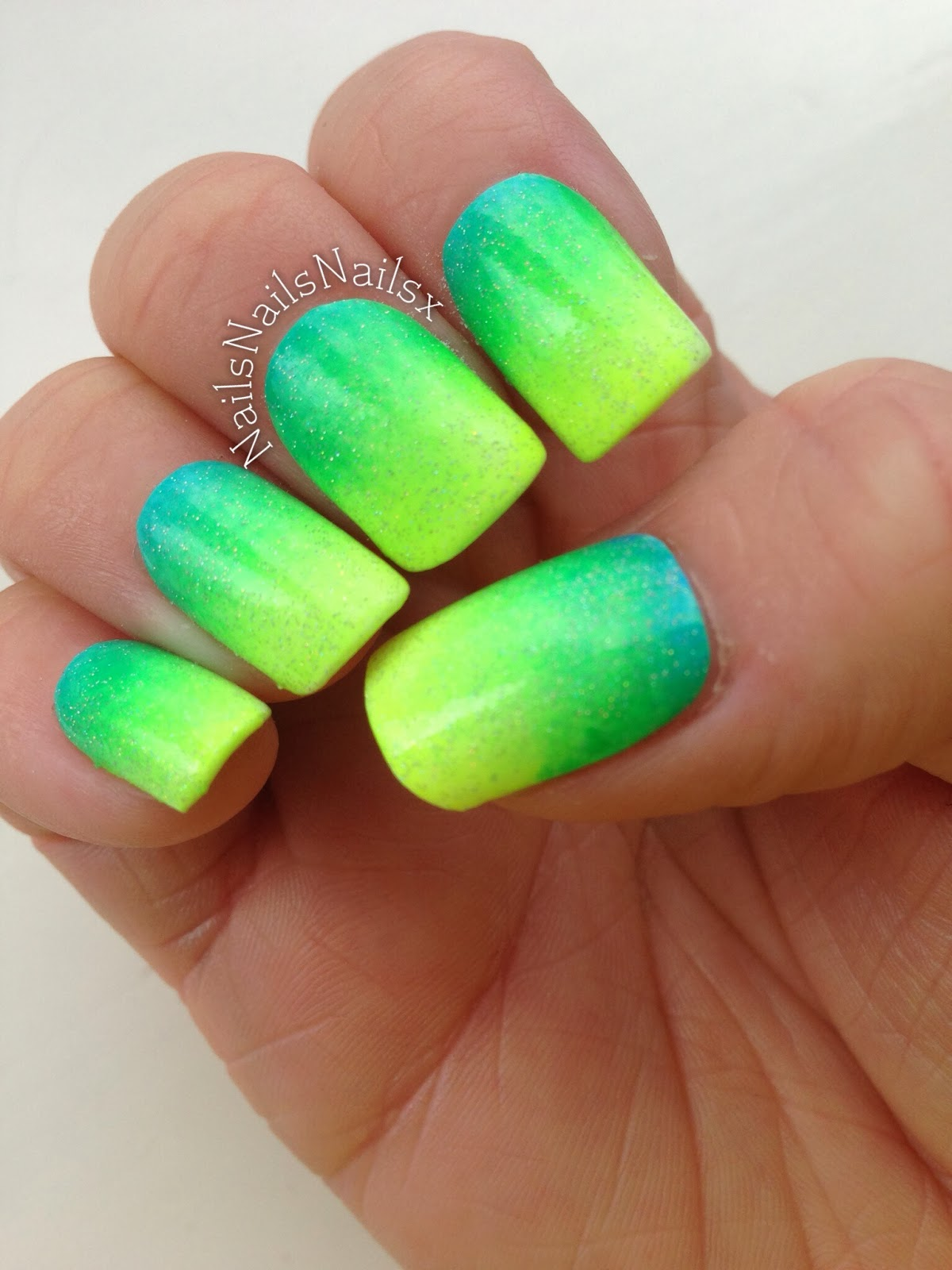 Glittery Ombre Nails Green Yellow And Blue Cejo