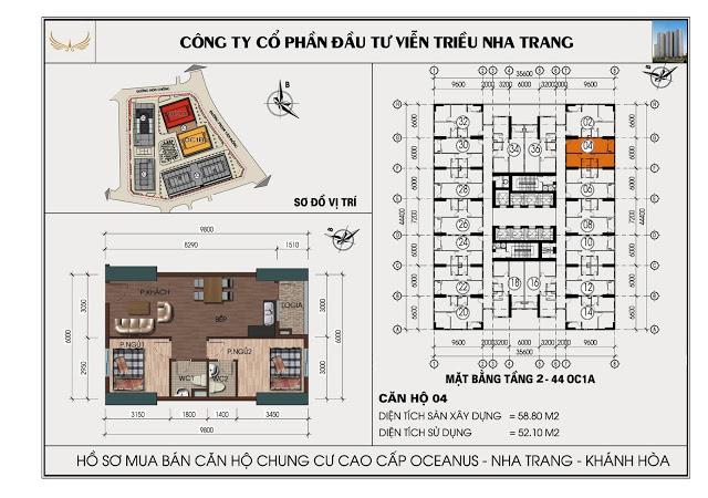 Sơ đồ căn hộ số 04 tòa OC1A Viễn Triều Nha Trang