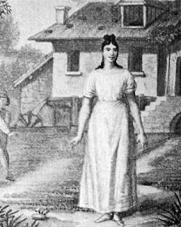 An illustration of Giuditta Pasta in the  premiere of La Sonnambula