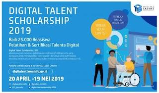 Pendaftaran 25.000 Beasiswa Digital Talent Scholarship 2019 Dibuka
