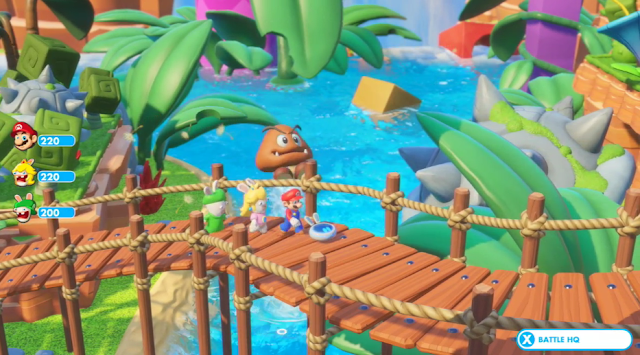 Mario + Rabbids Kingdom Battle geyser Goomba bridge