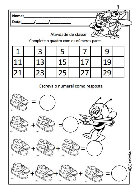 A Arte de Educar: Números pares e ímpares