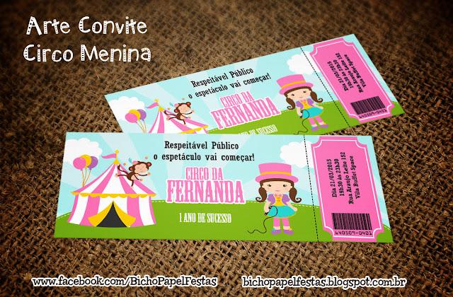 Convite Ingresso Circo Menina