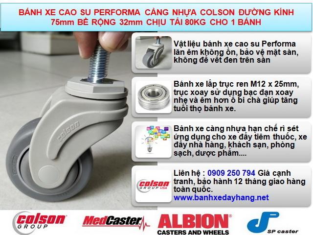 Bánh xe cao su càng nhựa Colson cọc vít phi 75 3inch   STO-3854-448 www.banhxepu.net
