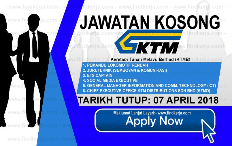Jawatan Kerja Kosong KTMB - Keretapi Tanah Melayu Berhad logo www.findkerja.com mac 2018