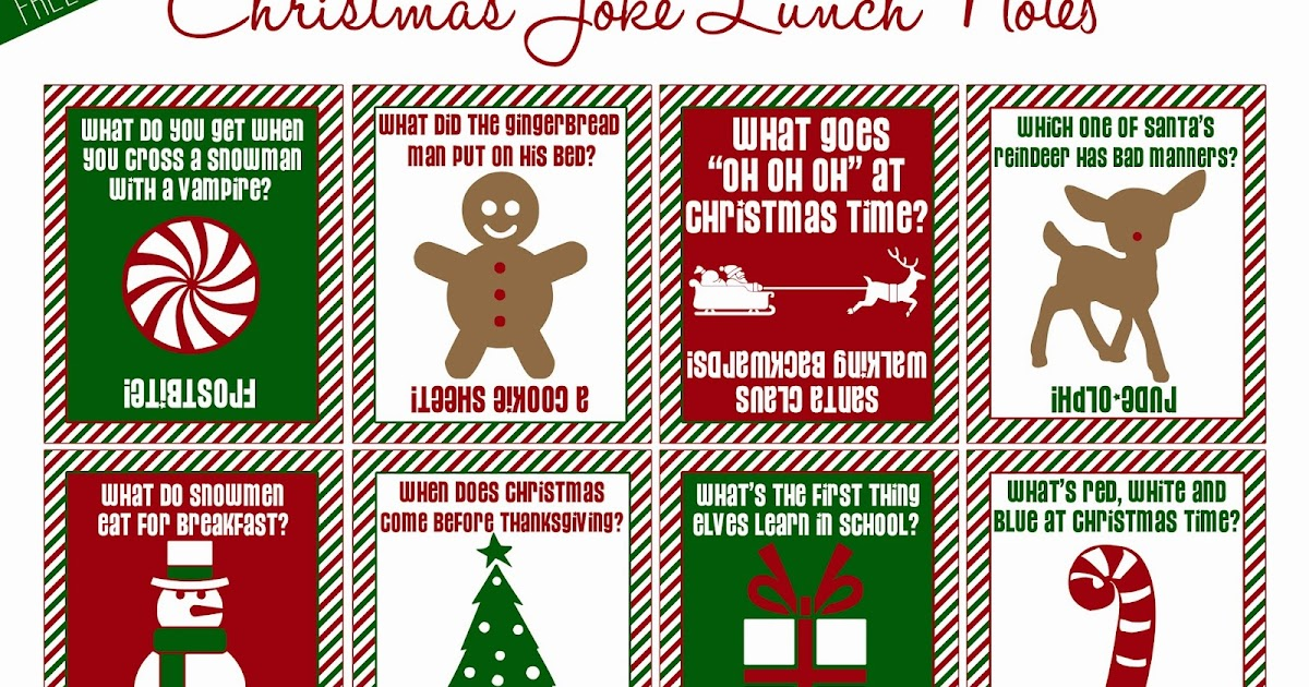 Just Peachy Designs: Christmas Joke Lunch Notes