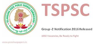 TSPSC Group 2 Notification 2016 Latest 1032 Vacancies