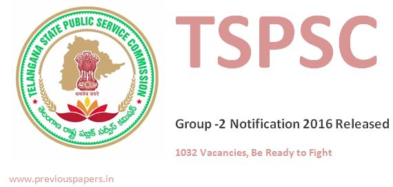 TSPSC Group 2 Notification 2016 Latest 1032 Vacancies