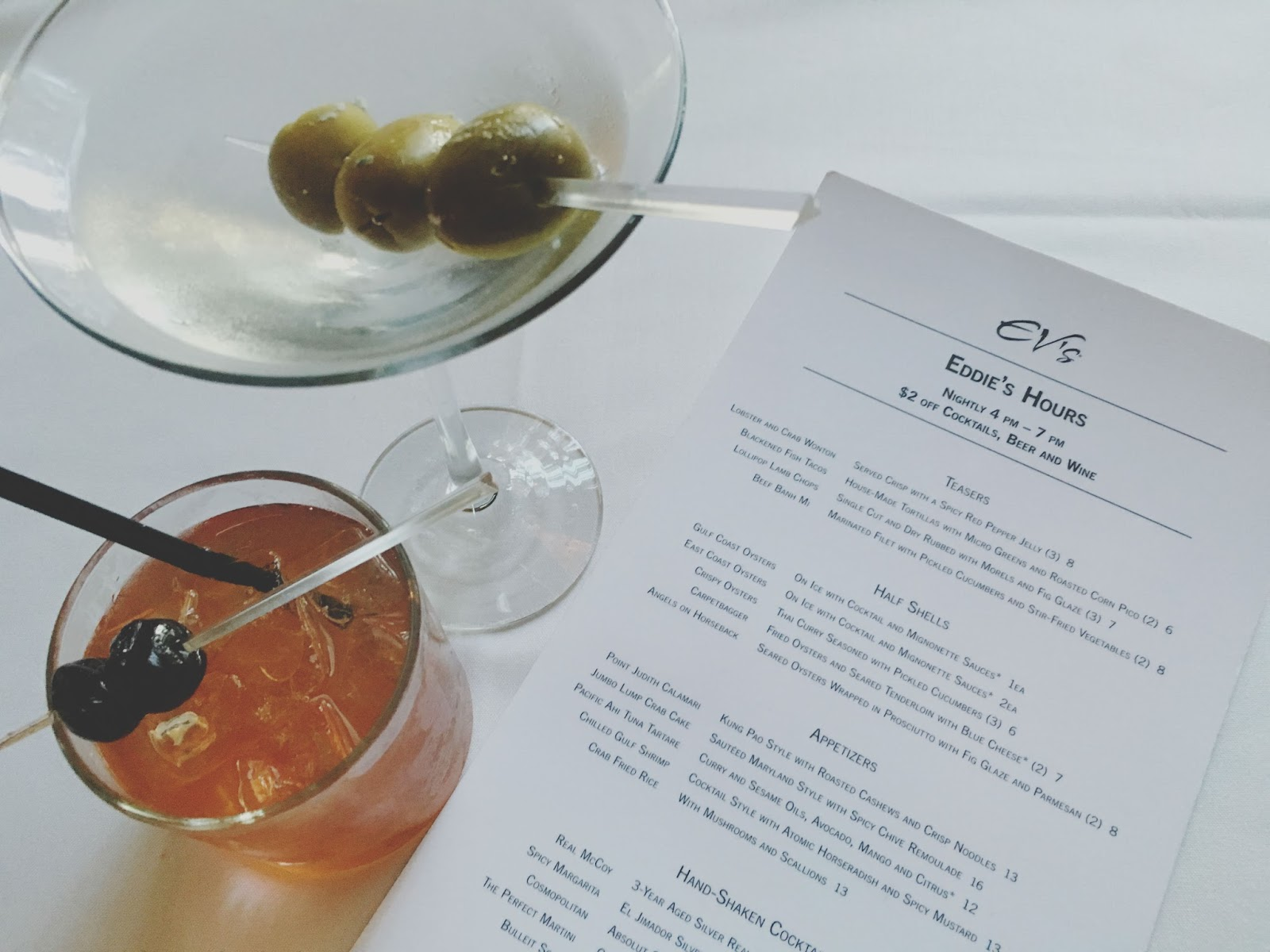 drinks at Eddie V's - A restaurant in Houston, Texas