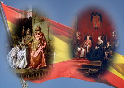 Recortes de los monarcas con una bandera de España de fondo