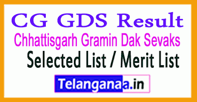 Chhattisgarh Gramin Dak Sevaks Selected List / Merit List