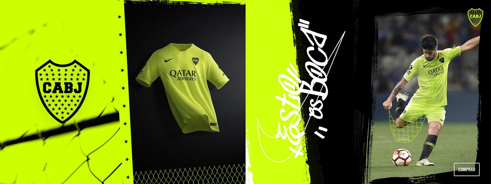 8bd47d03e1b7b colore giallo evidenziatore con loghi in colore nero. Maglia Audace. Il  motto della maglia è  Esto es Boca - Questo è il Boca !