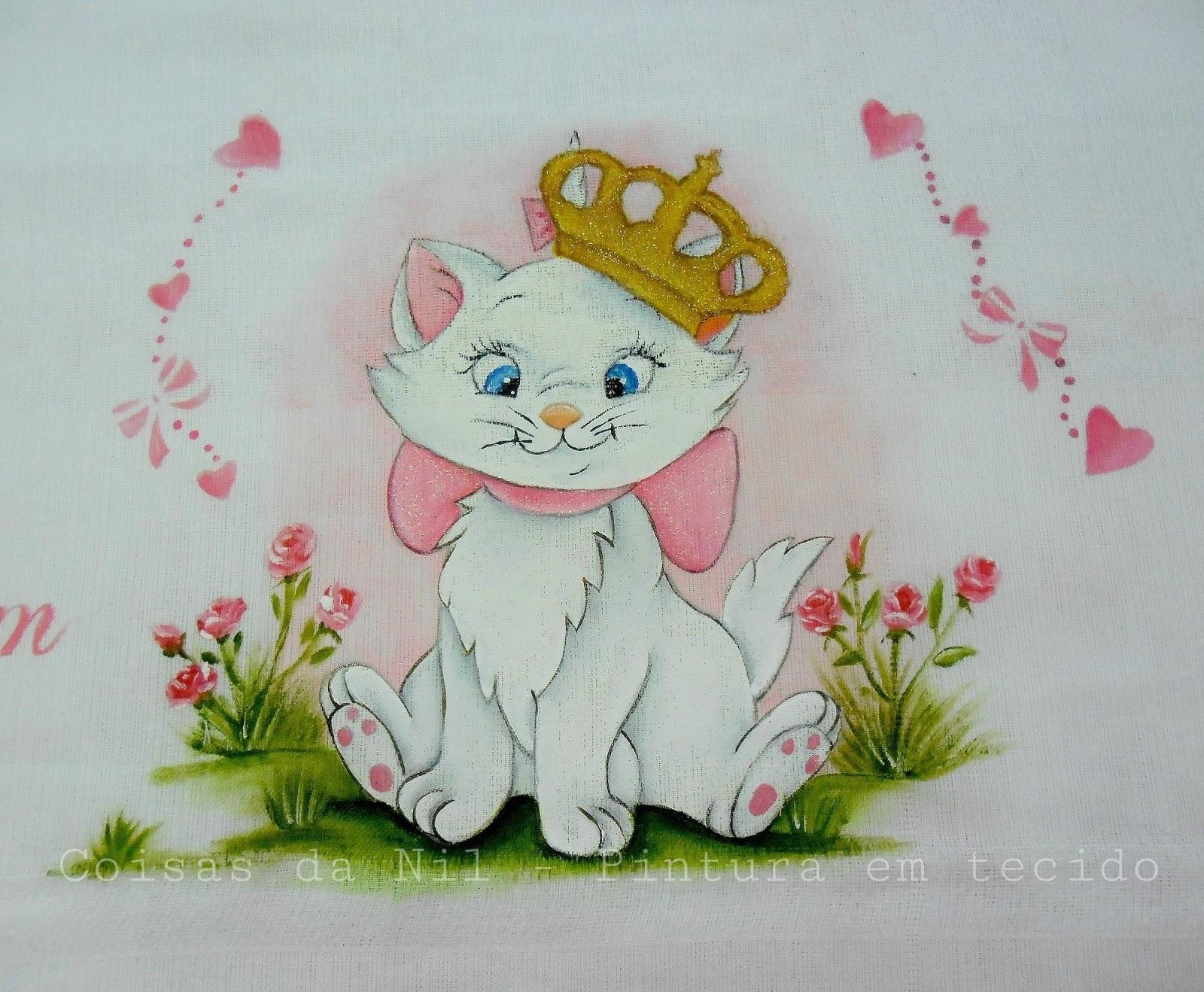 Coisas Da Nil Pintura Em Tecido Gatinha Marie Com Coroa