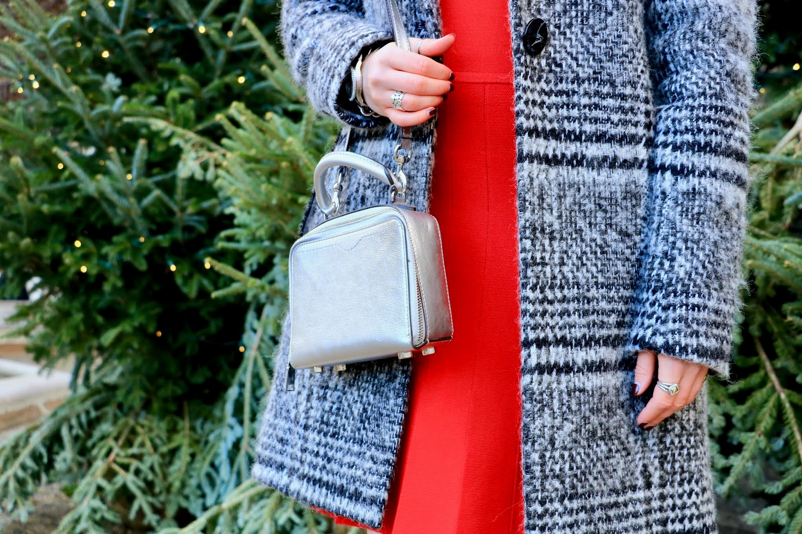 Nyc fashion blogger Kathleen Harper wearing a silver Rebecca Minkoff purse