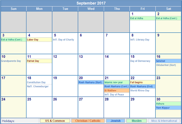 September 2017 Holiday Calendar, 2017 Calendar Holidays, 2017 Calendar Holidays Print, 2017 Calendar Holidays Printable, 2017 Calendar Holidays Template, 2017 Calendar with Holidays, 2017 Calendar with Holidays Printable