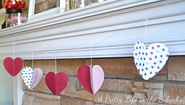 3D Valentine Paper Heart Garland