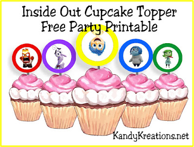 Bring the little voices in your head Inside Out with these fun cupcake topper party printables.  Simply print out Joy and the gang for some easy and free printables to take your party over the top.