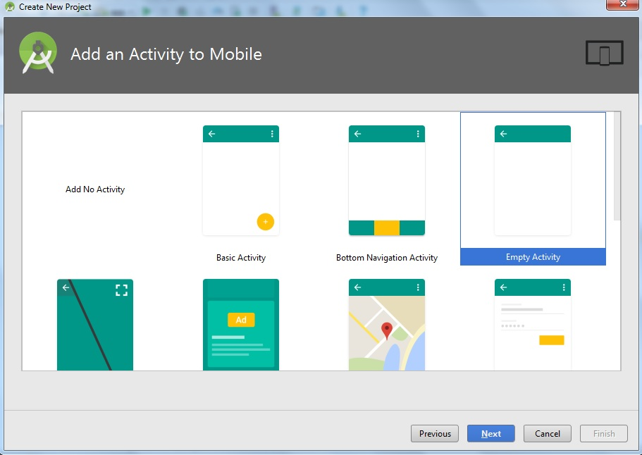 Create Android Project Choose Activity Screen