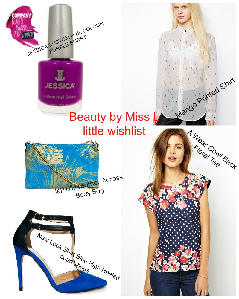 purple nail polish, white shirt, blue bag, black blue heels, floral tee