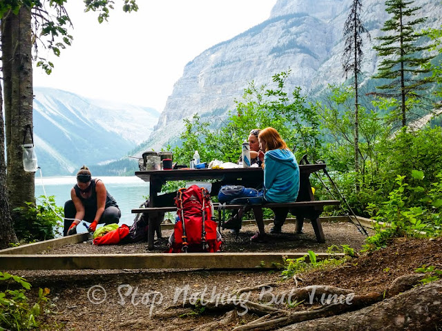 Lunch spot at Kinney Lake on the Berg Lake Trail. Mount Robson Provincial Park, British Columbia.