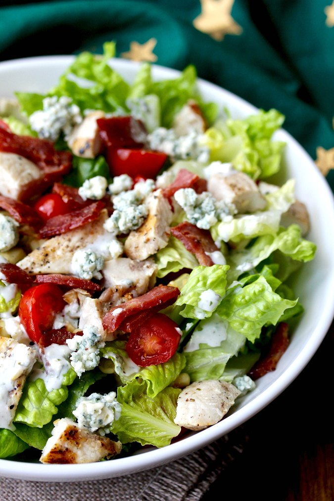 Grilled Chicken Chopped Salad with Buttermilk Blue Cheese Dressing