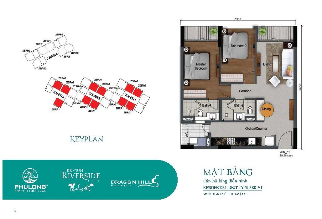 Thiết kế căn 2 phòng ngủ 76.36m2 tại Dragon Riverside City