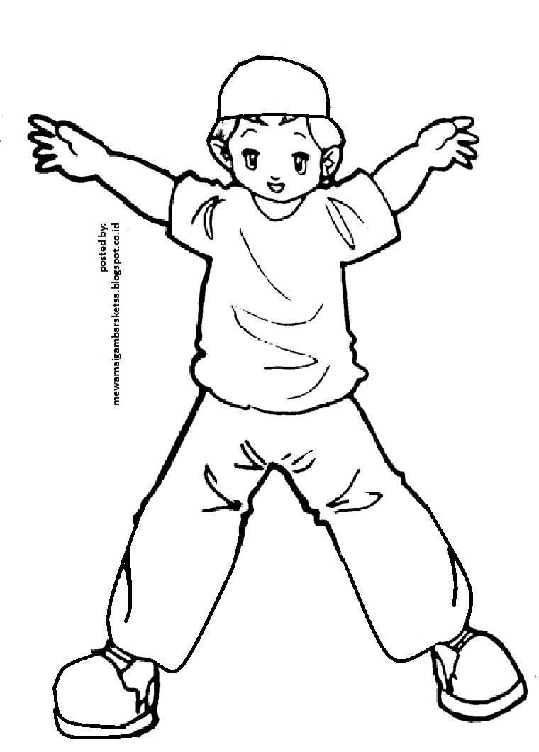 Mewarnai Gambar Sketsa Kartun Anak Muslim 20 Sedang Senam