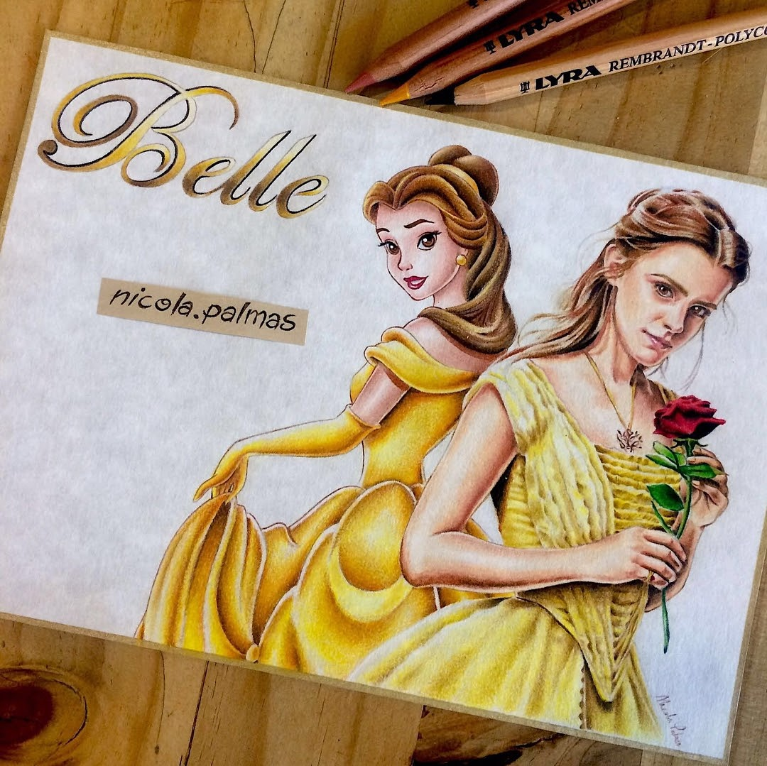 07-Belle-and-Emma-Watson-beauty-and-the-beast-Nicola-Palmas-Walt-Disney-Characters-Art-Illustrations-www-designstack-co
