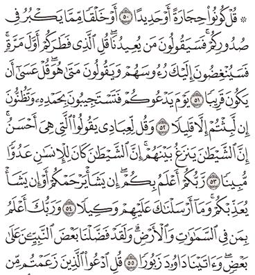 Tafsir Surat Al-Israa Ayat 51, 52, 53, 54, 55