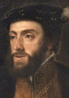 El rostro de Carlos I, de cabellos castaños, ojos claros, barba y bigote.