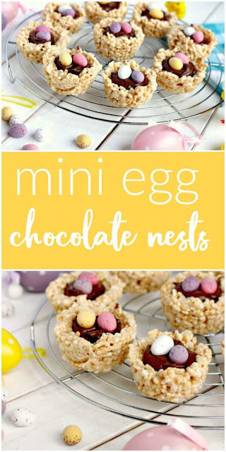 Mini Egg Marshmallow Krispie Nests for the perfect Easter treat #Easter #Chocolate #minieggs