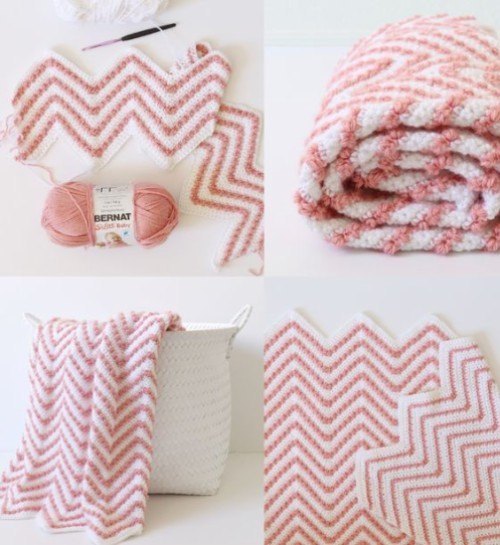 Crochet Berry Chevron Baby Blanket - Free Pattern