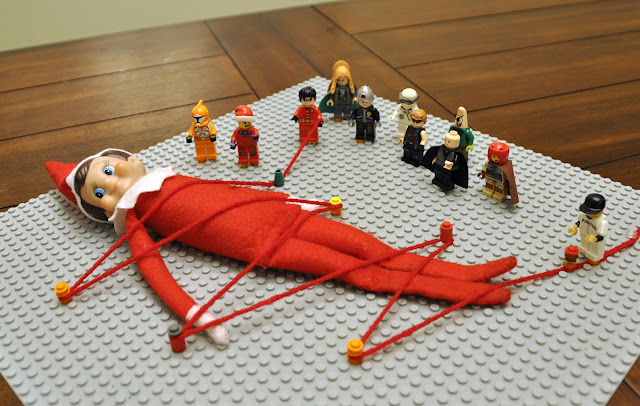 Attack of the Lego People Elf on the Shelf. Click for more ideas! #elfontheshelf