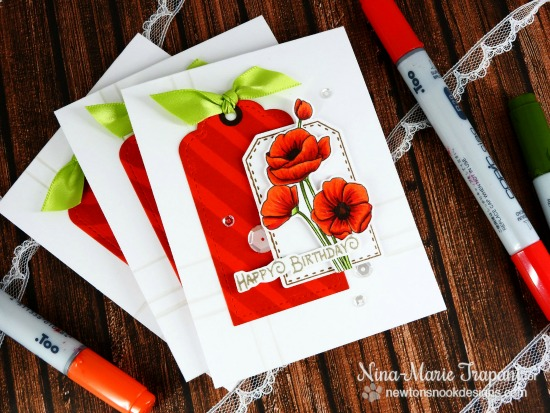 Set of Poppy Cards by Nina-Marie Trapani | Flower Garden Stamp set by Newton's Nook Designs #newtonsnook