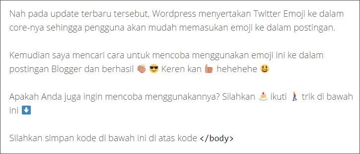 Cara Menggunakan Twitter Emoji Di Postingan Blogger