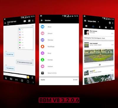 BBM Messenger V8 Base BBM MOD v3.2.0.6 APK Update Terbaru 2016 Full Fitur New Sytle