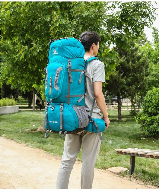 กระเป๋าเดินป่า JINSHIWQ สีน้ำเงิน ด้านข้าง