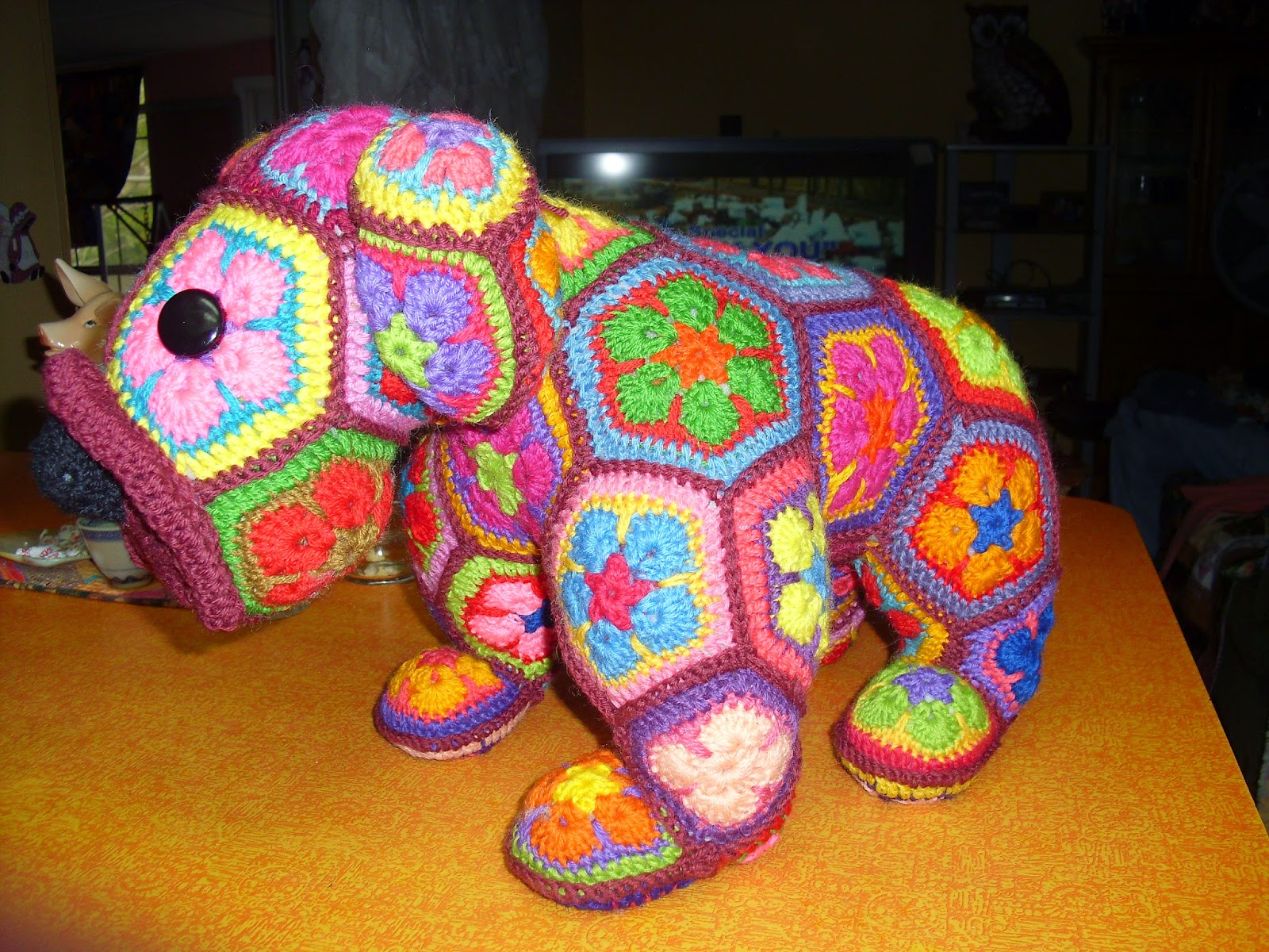 Amazon.com: Elephant Soft Toy. African Flower Crocheted Elephant ... | 1200x1600