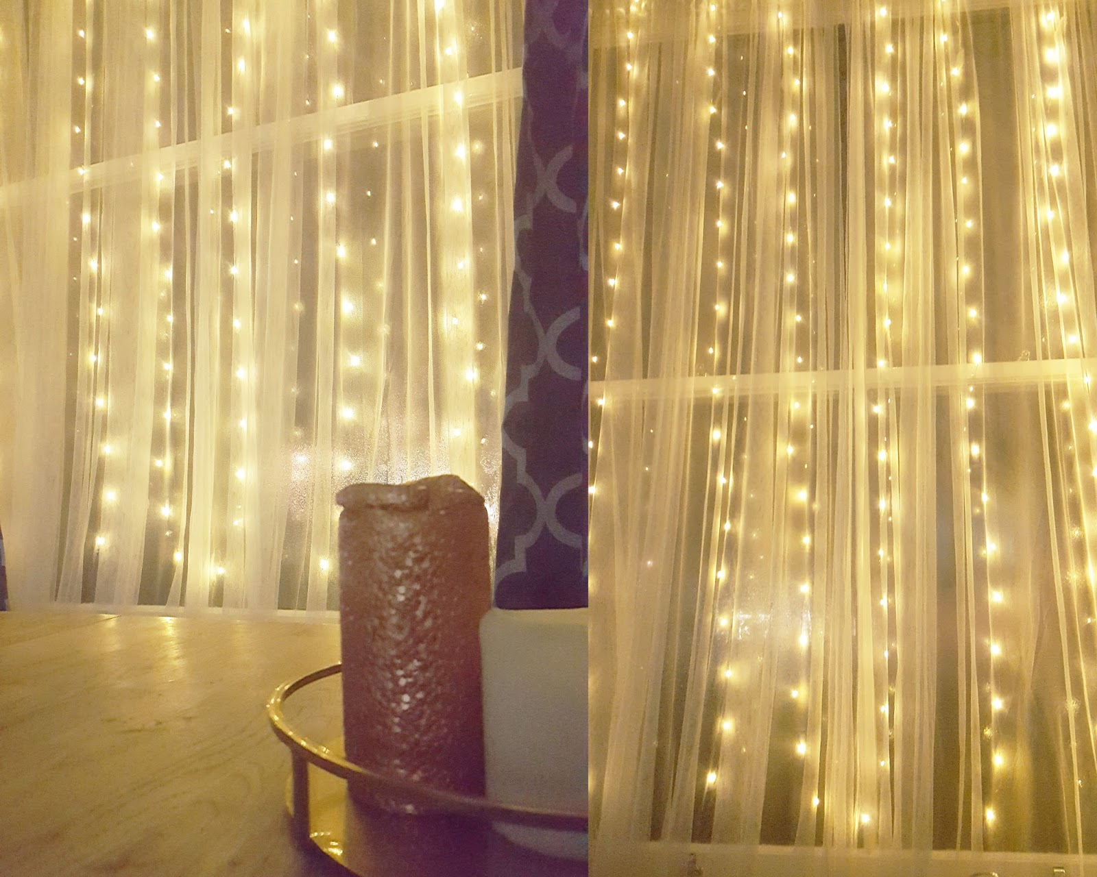 fairy lights on curtains