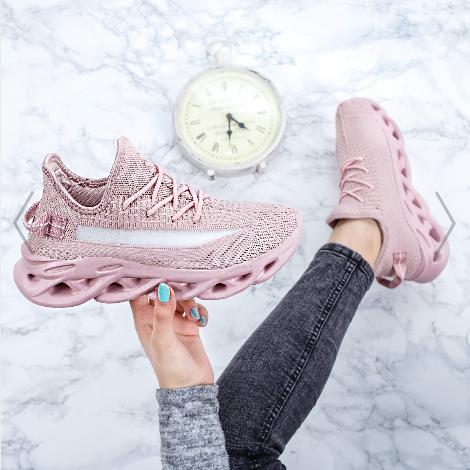 Pantofi dama sport roz din material textil cu talpa groasa moderni