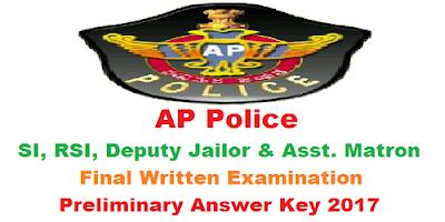 AP SI RSI Deputy Jailor & Asst. Matron FWE Answer Key 2017