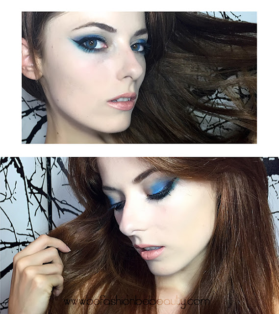 Blue night makeup. | Maquillaje de noche en tonos azules.
