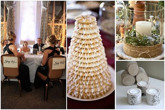 Dekoracje na ślub w zimie, zimowe wesele, złote dodatki na wesele, ślub i wesele w stylu skandynawskim